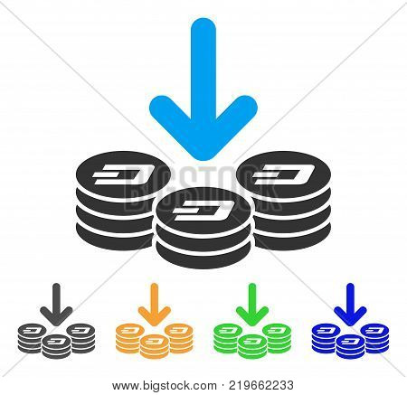 Dash Coins Income icon. Vector illustration style is a flat iconic dash coins income symbol with grey, green, blue, yellow color versions. Designed for web and software interfaces.