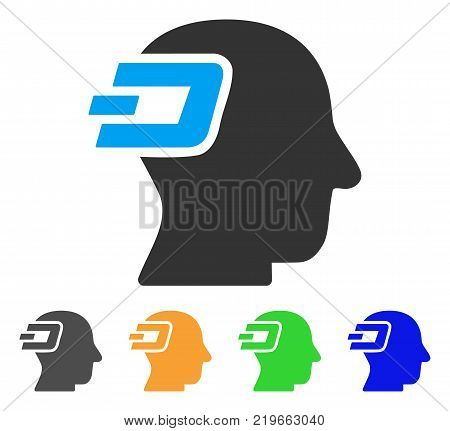 Dash Imagination icon. Vector illustration style is a flat iconic dash imagination symbol with grey, green, blue, yellow color versions. Designed for web and software interfaces.