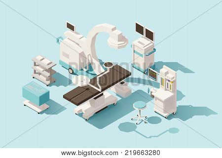 Vector isometric low poly hospital operating room. Includes operating table, x-ray scanner, anesthesia machine and other equipment poster
