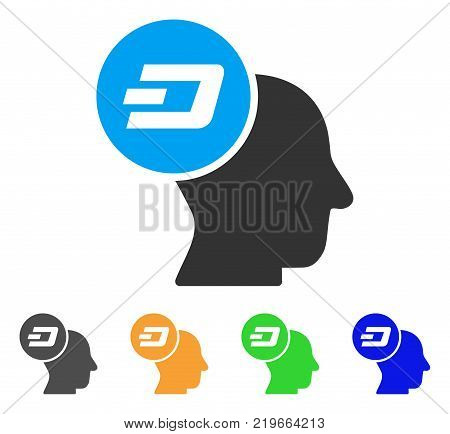 Dash Thinking Head icon. Vector illustration style is a flat iconic dash thinking head symbol with grey, green, blue, yellow color variants. Designed for web and software interfaces.