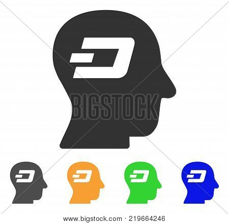 Dash Thinking icon. Vector illustration style is a flat iconic dash thinking symbol with grey, green, blue, yellow color variants. Designed for web and software interfaces.