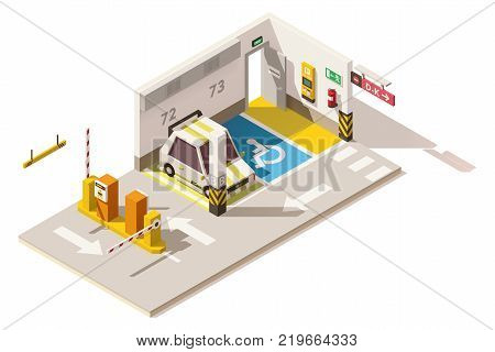 Vector isometric low poly underground parking. Includes parking places, car, payment machine terminal and barriers