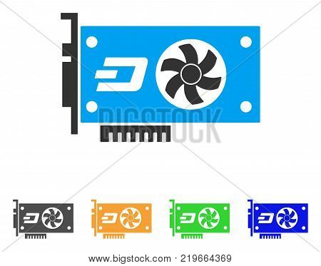 Dash Video Gpu Card icon. Vector illustration style is a flat iconic dash video gpu card symbol with grey, green, blue, yellow color versions. Designed for web and software interfaces.