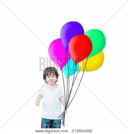 Closeup happy asian kid hold colorful balloon isolated on white background