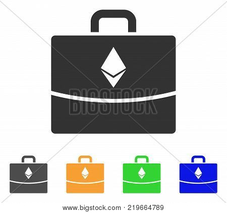 Ethereum Accounting Case icon. Vector illustration style is a flat iconic ethereum accounting case symbol with gray, green, blue, yellow color variants. Designed for web and software interfaces.