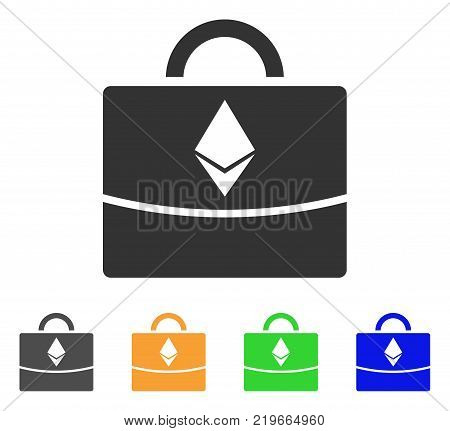 Ethereum Business Case icon. Vector illustration style is a flat iconic ethereum business case symbol with grey, green, blue, yellow color variants. Designed for web and software interfaces.