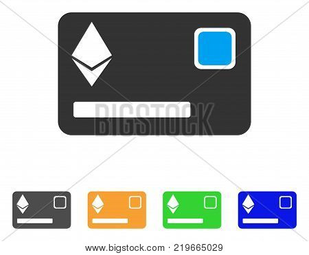 Ethereum Credit Card icon. Vector illustration style is a flat iconic ethereum credit card symbol with gray, green, blue, yellow color variants. Designed for web and software interfaces.