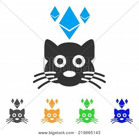 Ethereum Crypto Kitty icon. Vector illustration style is a flat iconic ethereum crypto kitty symbol with grey, green, blue, yellow color versions. Designed for web and software interfaces.