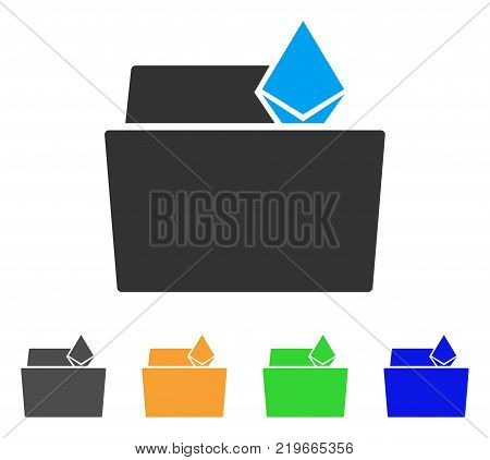 Ethereum Crystal Folder icon. Vector illustration style is a flat iconic ethereum crystal folder symbol with gray, green, blue, yellow color variants. Designed for web and software interfaces.