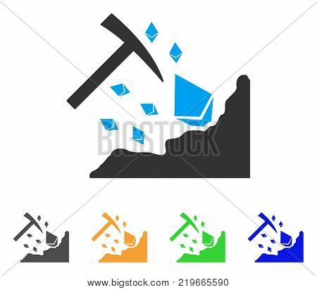 Ethereum Mining Hammer icon. Vector illustration style is a flat iconic ethereum mining hammer symbol with grey, green, blue, yellow color variants. Designed for web and software interfaces.