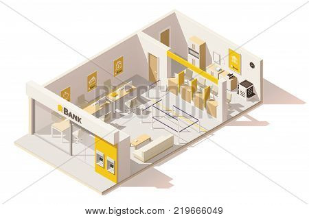 Vector isometric low poly bank interior. Includes reception, cashier desks, bank teller workplaces, ATM and other elements
