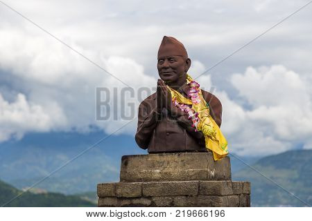 POKHARA NEPAL - October 012013: The statue of first elected deputy defense minister Min Bahadur Gurung Pokhara Nepal