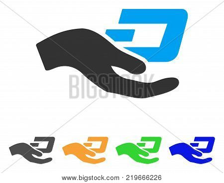 Hand Offer Dash icon. Vector illustration style is a flat iconic hand offer dash symbol with gray, green, blue, yellow color versions. Designed for web and software interfaces.