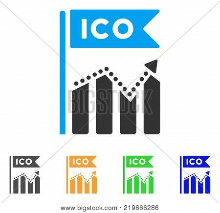 Ico Chart icon. Vector illustration style is a flat iconic ico chart symbol with grey, green, blue, yellow color versions. Designed for web and software interfaces.