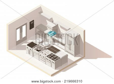 Vector isometric low poly professional kitchen. Includes stove, deep fryer, dish washer, grill, fridge and other commercial kitchen equipment