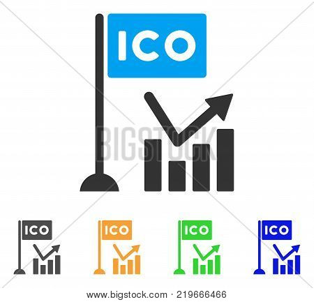Ico Trend Chart icon. Vector illustration style is a flat iconic ico trend chart symbol with grey, green, blue, yellow color versions. Designed for web and software interfaces.