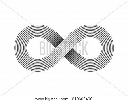 Infinity sign made of metal wire. Limitless strip symbol. Vector illustration on white background.