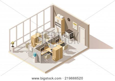 Vector isometric low poly office room. Includes cubicle, table, office chairs, other furniture