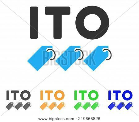 Ito Tokens icon. Vector illustration style is a flat iconic ito tokens symbol with gray, green, blue, yellow color versions. Designed for web and software interfaces.