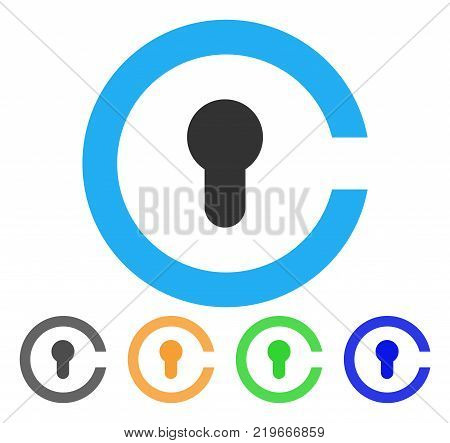 Keyhole icon. Vector illustration style is a flat iconic keyhole symbol with gray, green, blue, yellow color versions. Designed for web and software interfaces.