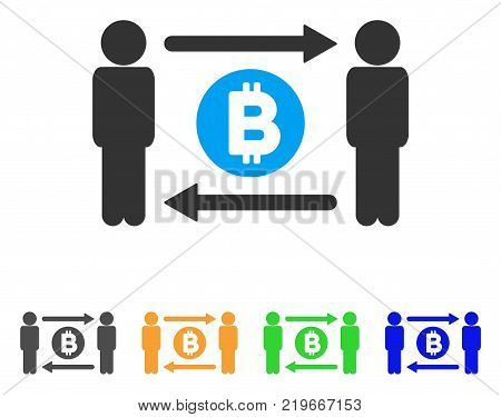 People Exchange Bitcoin Coin icon. Vector illustration style is a flat iconic people exchange bitcoin coin symbol with gray, green, blue, yellow color variants.