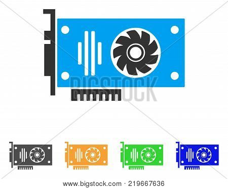 Video Gpu Card icon. Vector illustration style is a flat iconic video GPU card symbol with grey, green, blue, yellow color versions. Designed for web and software interfaces.