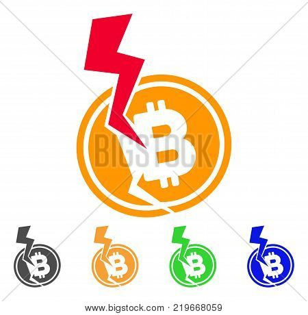 Bitcoin Crash Lightning icon. Vector illustration style is a flat iconic bitcoin crash lightning symbol with gray, green, blue, yellow color versions. Designed for web and software interfaces.