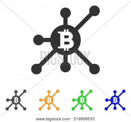 Bitcoin Full Node icon. Vector illustration style is a flat iconic bitcoin full node symbol with gray, green, blue, yellow color variants. Designed for web and software interfaces.