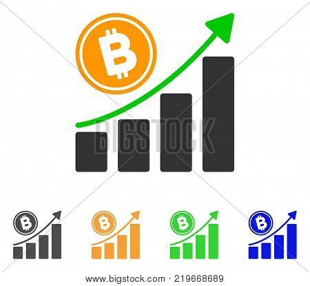 Bitcoin Growth Trend icon. Vector illustration style is a flat iconic bitcoin growth trend symbol with gray, green, blue, yellow color versions. Designed for web and software interfaces.