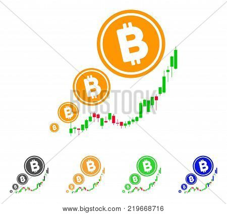 Bitcoin Inflation Chart icon. Vector illustration style is a flat iconic bitcoin inflation chart symbol with gray, green, blue, yellow color versions. Designed for web and software interfaces.
