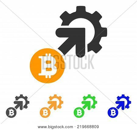 Bitcoin Integration Cog icon. Vector illustration style is a flat iconic bitcoin integration cog symbol with grey, green, blue, yellow color versions. Designed for web and software interfaces.