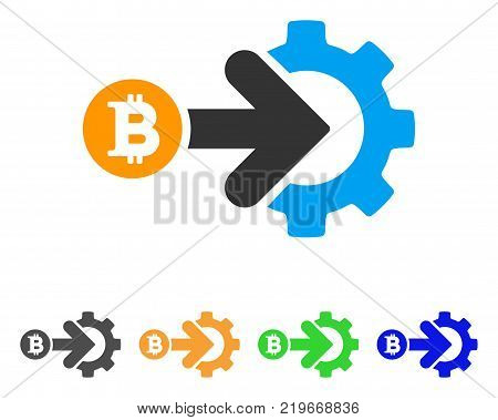 Bitcoin Integration Gear icon. Vector illustration style is a flat iconic bitcoin integration gear symbol with grey, green, blue, yellow color versions. Designed for web and software interfaces.