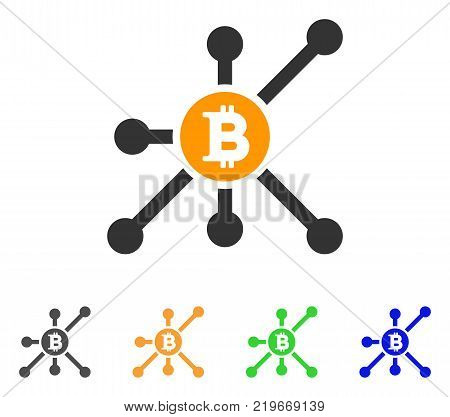 Bitcoin Node icon. Vector illustration style is a flat iconic bitcoin node symbol with grey, green, blue, yellow color variants. Designed for web and software interfaces.