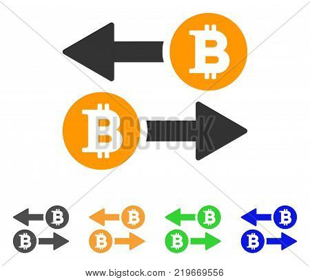 Bitcoin Transaction Arrows icon. Vector illustration style is a flat iconic bitcoin transaction arrows symbol with grey, green, blue, yellow color variants. Designed for web and software interfaces.