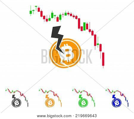 Candlestick Chart Bitcoin Crash icon. Vector illustration style is a flat iconic Candlestick chart bitcoin crash symbol with gray, green, blue, yellow color variants.