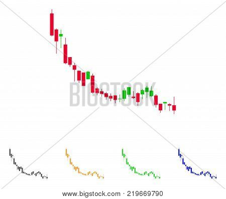 Candlestick Chart Falling Slowdown icon. Vector illustration style is a flat iconic Candlestick chart falling slowdown symbol with grey, green, blue, yellow color variants.