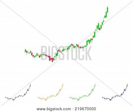 Candlestick Graph Growth Acceleration icon. Vector illustration style is a flat iconic Candlestick graph growth acceleration symbol with gray, green, blue, yellow color versions.