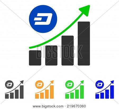 Dash Growing Trend icon. Vector illustration style is a flat iconic dash growing trend symbol with grey, green, blue, yellow color variants. Designed for web and software interfaces.