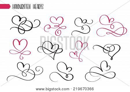 Set of hand drawn sketchy calligraphy hearts. Vector grunge style flourish collection. Illustration of the hand drawn hearts on the white background. poster