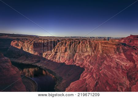 One of the most known and beautiful curves of Colorado River known as Horseshoe Band.