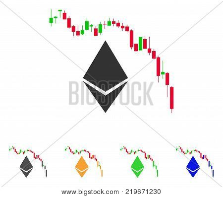 Ethereum Fall Chart icon. Vector illustration style is a flat iconic ethereum fall chart symbol with grey, green, blue, yellow color variants. Designed for web and software interfaces.
