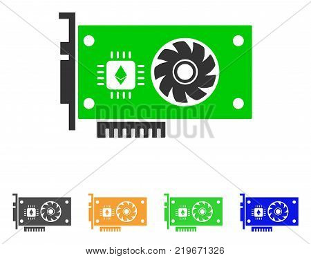 Ethereum Gpu Videocard icon. Vector illustration style is a flat iconic ethereum GPU videocard symbol with grey, green, blue, yellow color variants. Designed for web and software interfaces.