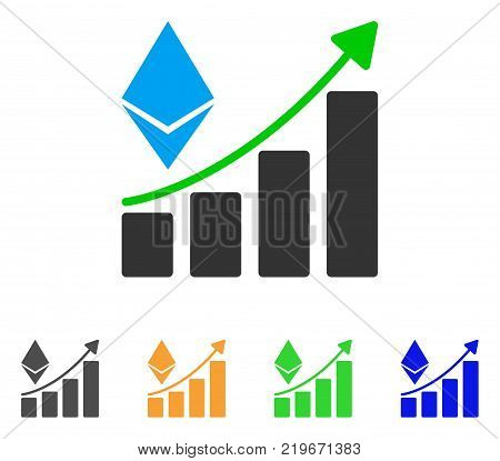 Ethereum Growth Trend icon. Vector illustration style is a flat iconic ethereum growth trend symbol with grey, green, blue, yellow color versions. Designed for web and software interfaces.
