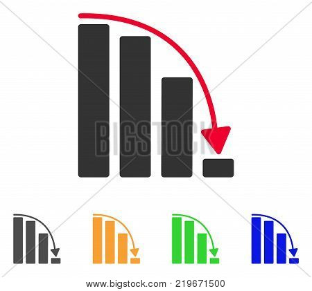 Falling Acceleration Bar Chart icon. Vector illustration style is a flat iconic falling acceleration bar chart symbol with grey, green, blue, yellow color variants.