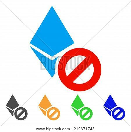 Forbidden Ethereum Crystal icon. Vector illustration style is a flat iconic forbidden ethereum crystal symbol with gray, green, blue, yellow color versions. Designed for web and software interfaces.