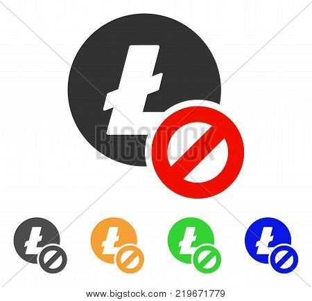 Forbidden Litecoin icon. Vector illustration style is a flat iconic forbidden litecoin symbol with grey, green, blue, yellow color versions. Designed for web and software interfaces.