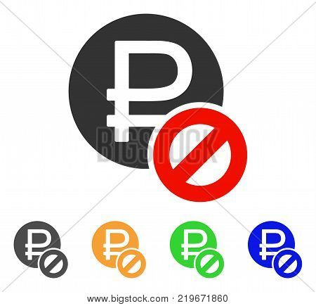 Forbidden Rouble icon. Vector illustration style is a flat iconic forbidden rouble symbol with gray, green, blue, yellow color variants. Designed for web and software interfaces.