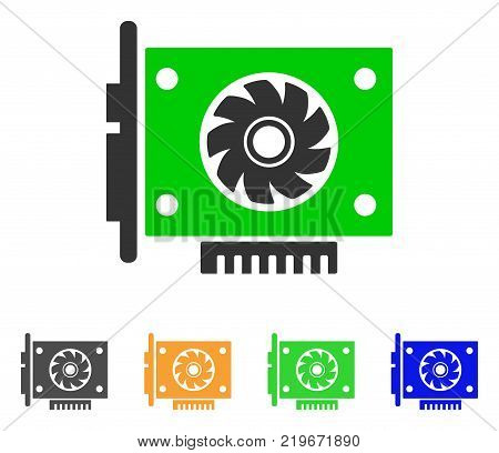 Gpu Card icon. Vector illustration style is a flat iconic gpu card symbol with gray, green, blue, yellow color versions. Designed for web and software interfaces.