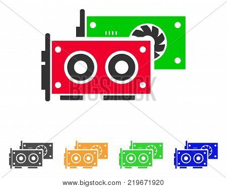 Gpu Cards icon. Vector illustration style is a flat iconic gpu cards symbol with gray, green, blue, yellow color versions. Designed for web and software interfaces.