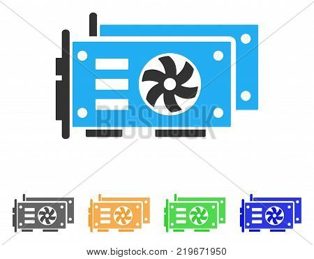 Gpu Video Cards icon. Vector illustration style is a flat iconic gpu video cards symbol with grey, green, blue, yellow color variants. Designed for web and software interfaces.